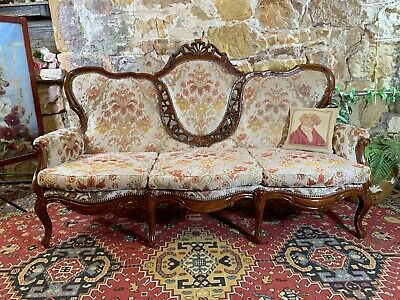 Vintage French Louis Wingback Chesterfield 3 Seater Sofa Lounge Chair~Couch