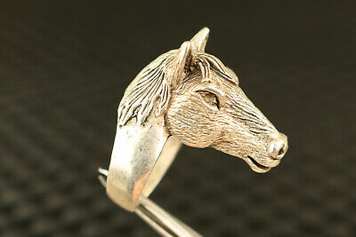 old chinese Tibet silver hand carved horse statue collectable ring gift
