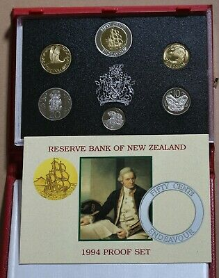 1994 New Zealand NZ Proof Set Including Scarce Endeavour 50c Coin GEM FDC Coins