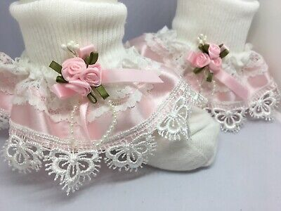 Handmade gorgeous lace & pink satin ribbon trim frilly baby/girls socks