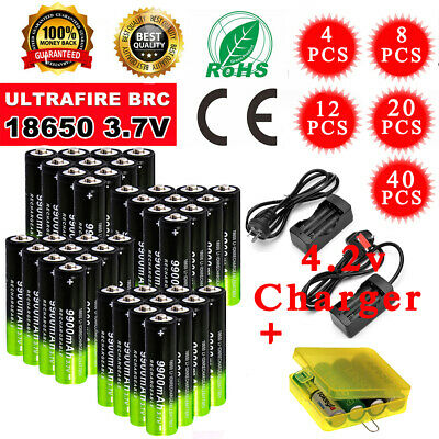 Genuine 18650 3.7V 9900mAh Rechargeable Lithium Li-ion Battery + Dual Charger zo