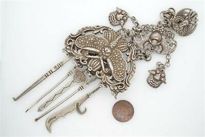 UNUSUAL ANTIQUE CHINESE SILVER SMOKING CHATELAINE / COMPENDIUM w/ 5 TOOLS C19TH