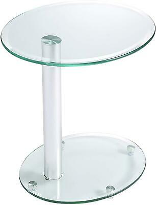 Silver Side Table Stainless Steel Legs Lamp Coffee Stool Glass Top Furniture New