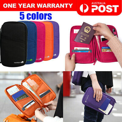 Family Travel Wallet Organiser RFID Card Holder Document Passport Ticket Bag AU