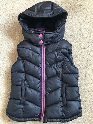 Girls NEXT navy Hooded body Warmer / Gilet age 8 Years - Excellent Condition