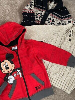 Boys Zip Up Hoody Bundle Age 2-3 Years Knitted Jumper Winter Mickey George 3 Ite