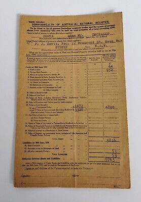 Vintage Australian Paper Ephemera Commonwealth Of Australia National Register