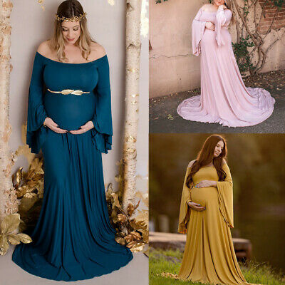 Women Pregnant Sexy Photography Props Off The Shoulder Maternity Maxi Dresses UK