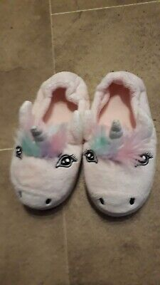 Marks and Spencer Pale Pink Unicorn Slippers - children's size 11