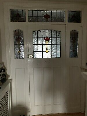 original 1930s Front Door With Side And Top Panels Stained Glass