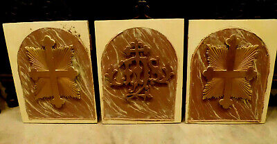 Antique Victorian Carved Wood Architectural Salvage Plaque Church Altar Set