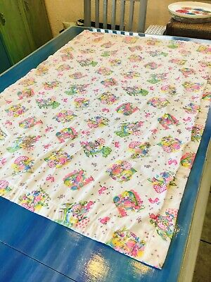 "Vintage Baby Quilt Blanket Nursery Hand Made Embroidered 34.5"" x 48"" Hobby Retro"