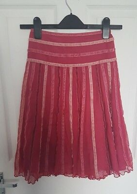 Monsoon Girls Hot Pink Striped Skirt   8-10 years Net Lined