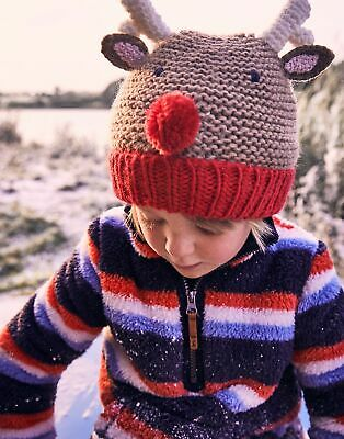 Joules Girls Festive Chummy Character Hat - BROWN REINDEER Size 3yr-7yr