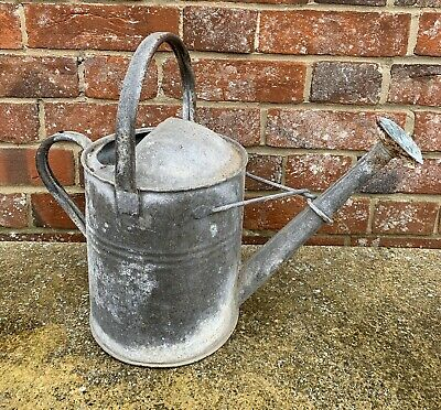 Small Vintage Half Gallon Vintage Galvanised Metal Watering Can With Rose