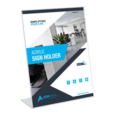 "Adir Office Acrylic Sign Holder 8.5 x 11"" Clear 639-8511  Pack of 6  #LG"