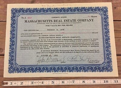 Municipal Real Estate Trust Stock Certificate Massachusetts Boston