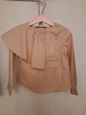 Zara Girls Lovely Frill Pale Pink/ Peachy colour Shirt. Age 6. In ex cond