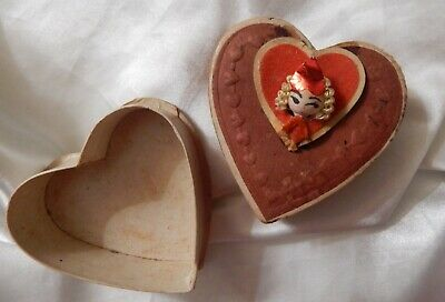 Vintage Valentine's Day Small Candybox Box with Tiny Doll Attached