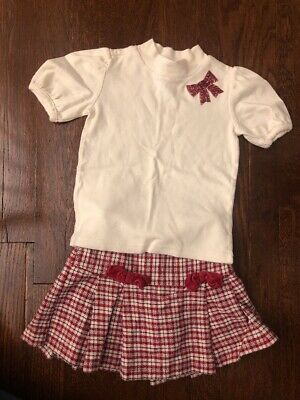 Gymboree Girls 2pc Set, Red Plaid Skirt And White Top, Size 5