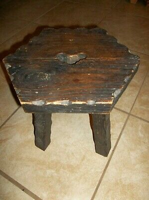Vintage French Rustic 3 Leg Wooden Milking Stool Plant Stand Hexagon Seat