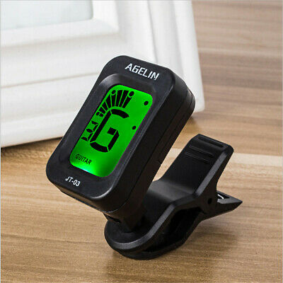 LCD Clip On Acoustic Electric Guitar Bass Ukulele Banjo Tuner Battery Operate