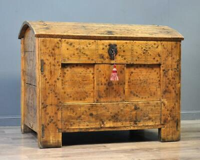 Attractive Very Large Antique Victorian Scandinavian Pine Dome Trunk Chest