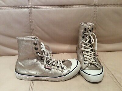 Juicy Couture Converse Real Leather High Top Trainers Girls Gold Size 3