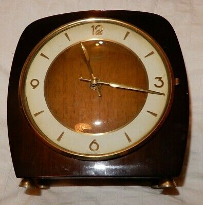 Vintage Junghans ATO MAT Wooden Mantel Clock Battery Powered Germany