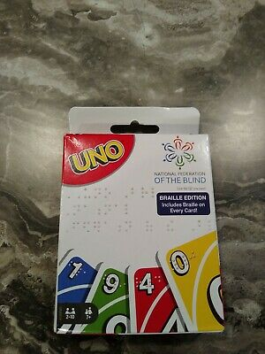 Uno Braille Edition Card Game-National Federation Of The Blind 7+ 2-10 Players