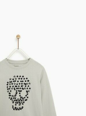 BNWT Zara Kids Soft Stretch Cotton Stars Skull Long Sleeve Top Age 9 years
