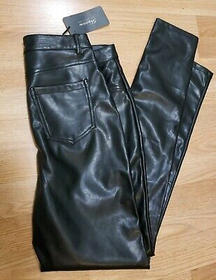 Shinestar Womens Black Legging Skinny Leather Like Stretch Pants Size Medium
