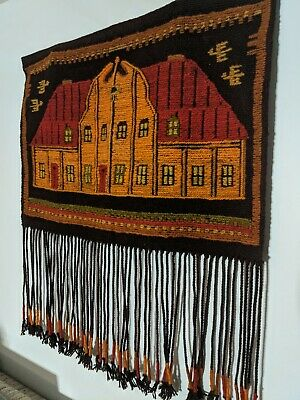 """Vintage 1970s Colorful Hooked Rug Style Orange Amish Barn Wall Hanging 30"""" x 34"""