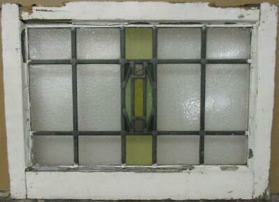 "OLD ENGLISH LEADED STAINED GLASS WINDOW Stunning Geometric Band 22"" x 16.25"""
