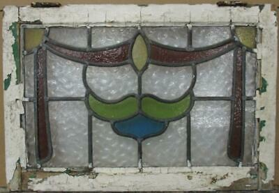 "MIDSIZE OLD ENGLISH LEADED STAINED GLASS WINDOW Stunning Swag Design 25"" x 17"""