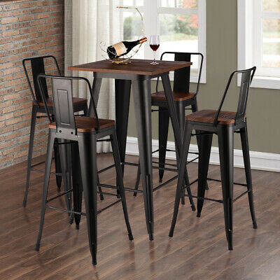 Vintage Industrial Table Bar Stools Chair Retro Kitchen Counter Wooden Seat Pub