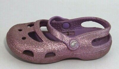 Crocs baby toddlers girls sandals Mary Jane sparkly pink size C 7