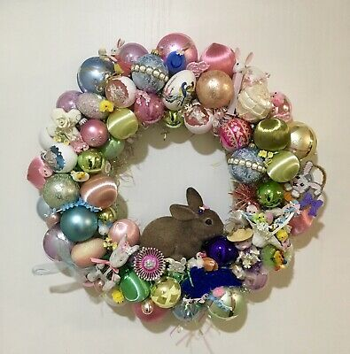 Vintage Easter Decor Wreath with Vintage Flocked Bunny Centerpiece