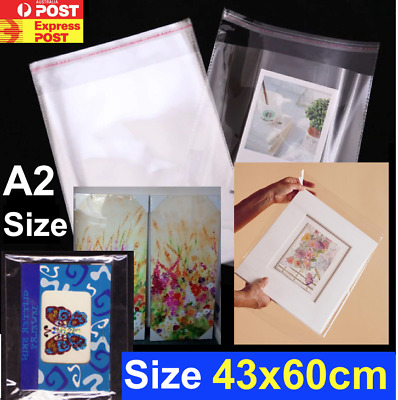 Clear Self Seal Adhesive Cello Cellophane Resealable Bags Size A2 43cm x 60cm +4