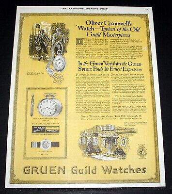 1920 Old Magazine Print Ad, Gruen Watchmakers Guild, Oliver Cromwell's Watch!