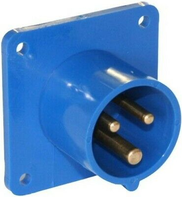 Panel Mounted CEE Industrial Plug 16A 3 Pole Ip44 230V - 613-6