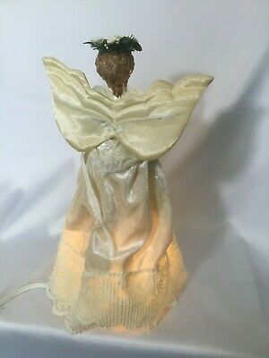 Vintage Kurt Adler Christmas ANIMATED ANGEL TREE TOPPER~Lighted*Lace*Harp*1989