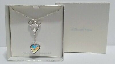 Disney Parks Mickey Icon and Heart Necklace Swarovski Crystal NEW