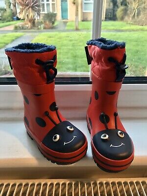 NEXT Infant Wellies Ladybird Fleece Lined Size 4 First Shoes Baby