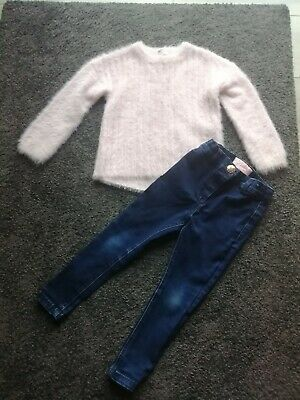 Girls River Island Jumper & Next Skinny Jeans Age 2-3 vgc