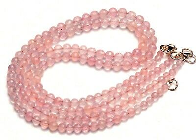 Natural Gemstone Rose Quartz 5 to 6MM Size Faceted Round Beads Necklace 17""