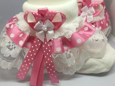 Handmade hot pink polka dot frilly lace socks baby/girls