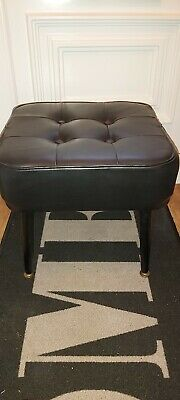 Vintage Retro Black Leather Foot Stool With Removable Legs *