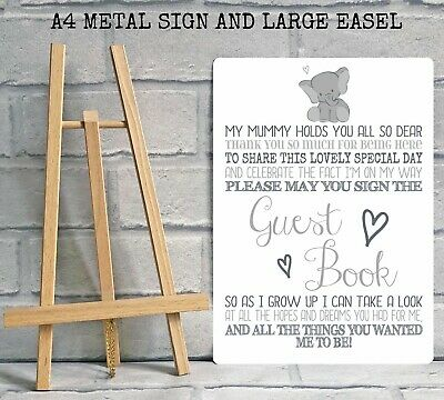 A4 Boy Girl Baby Shower Guest Book Metal Table Sign Decoration - ELEPHANT