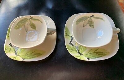 RED WING Pottery MAGNOLIA Pattern Gray 2 Cups and 2 Matching Saucers Vintage